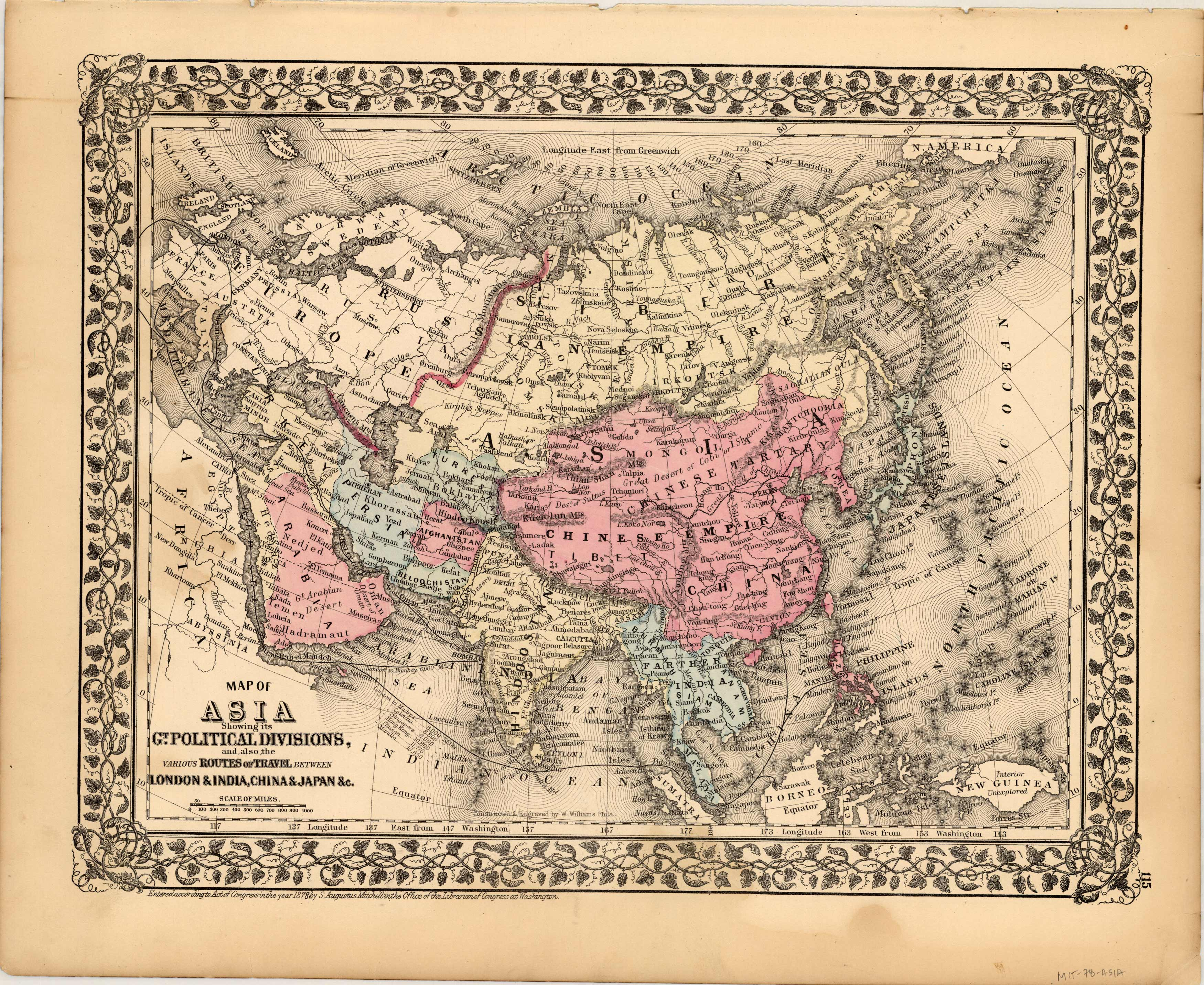 Map of Asia showing its GT. Political Divisons and also various routes of the travel between London