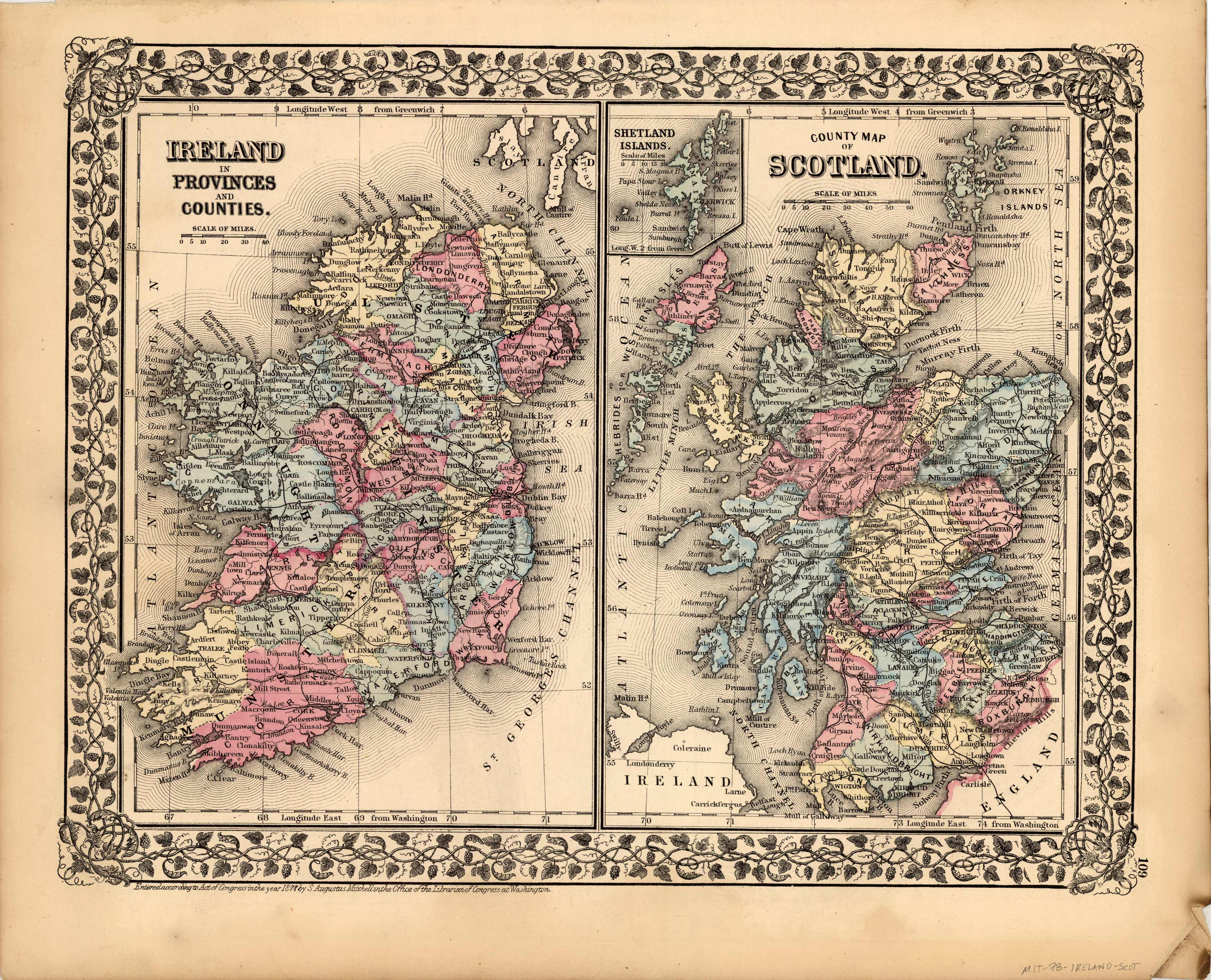 Ireland in Provinces and Counties - County Map of Scotland