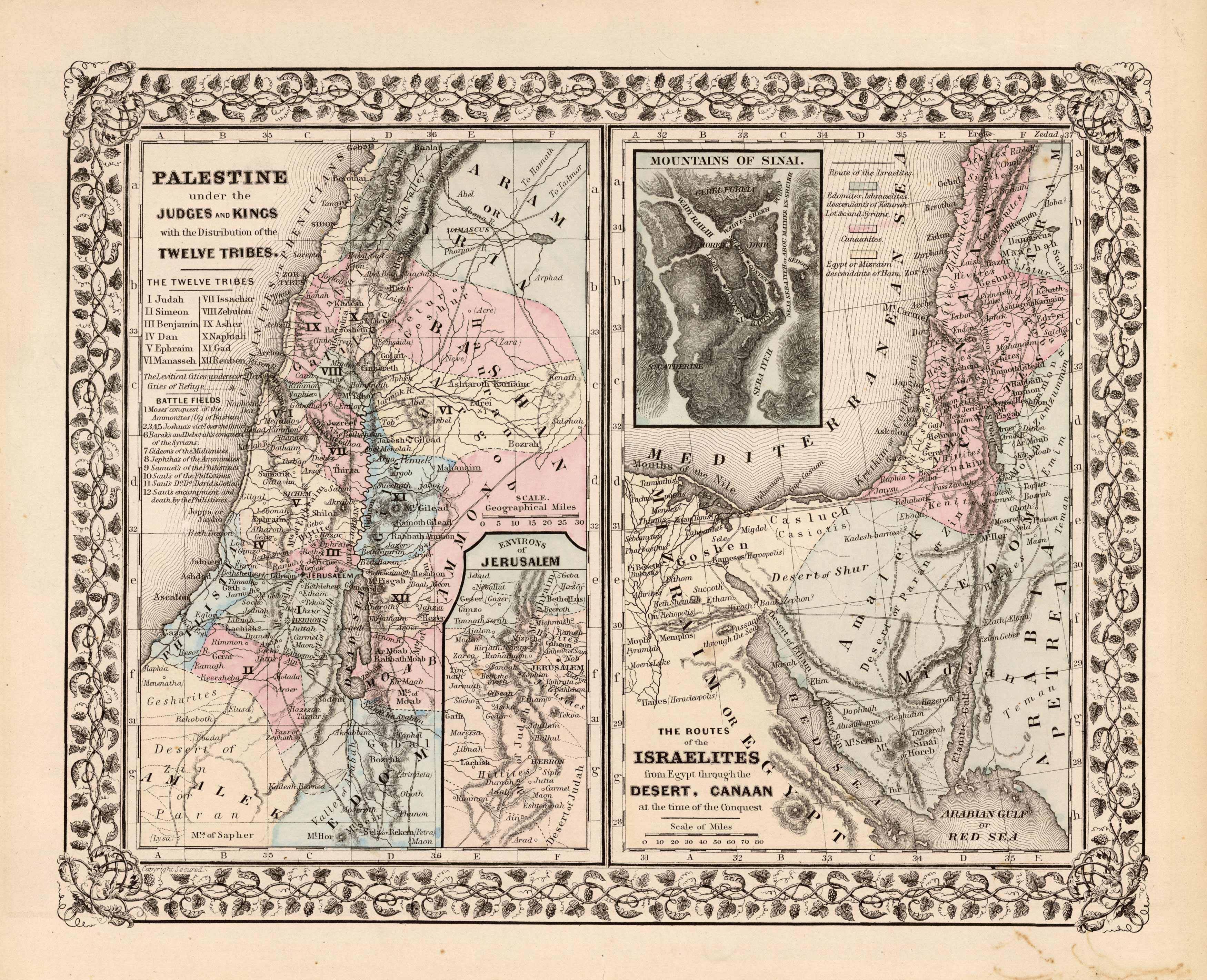 Palestine under the Judges and Kings with the Distribution of the Twelve Tribes; Environs of Jerusalem; The Routes of the Israelites from Egypt through the Desert Canaan at the time of the Conquest