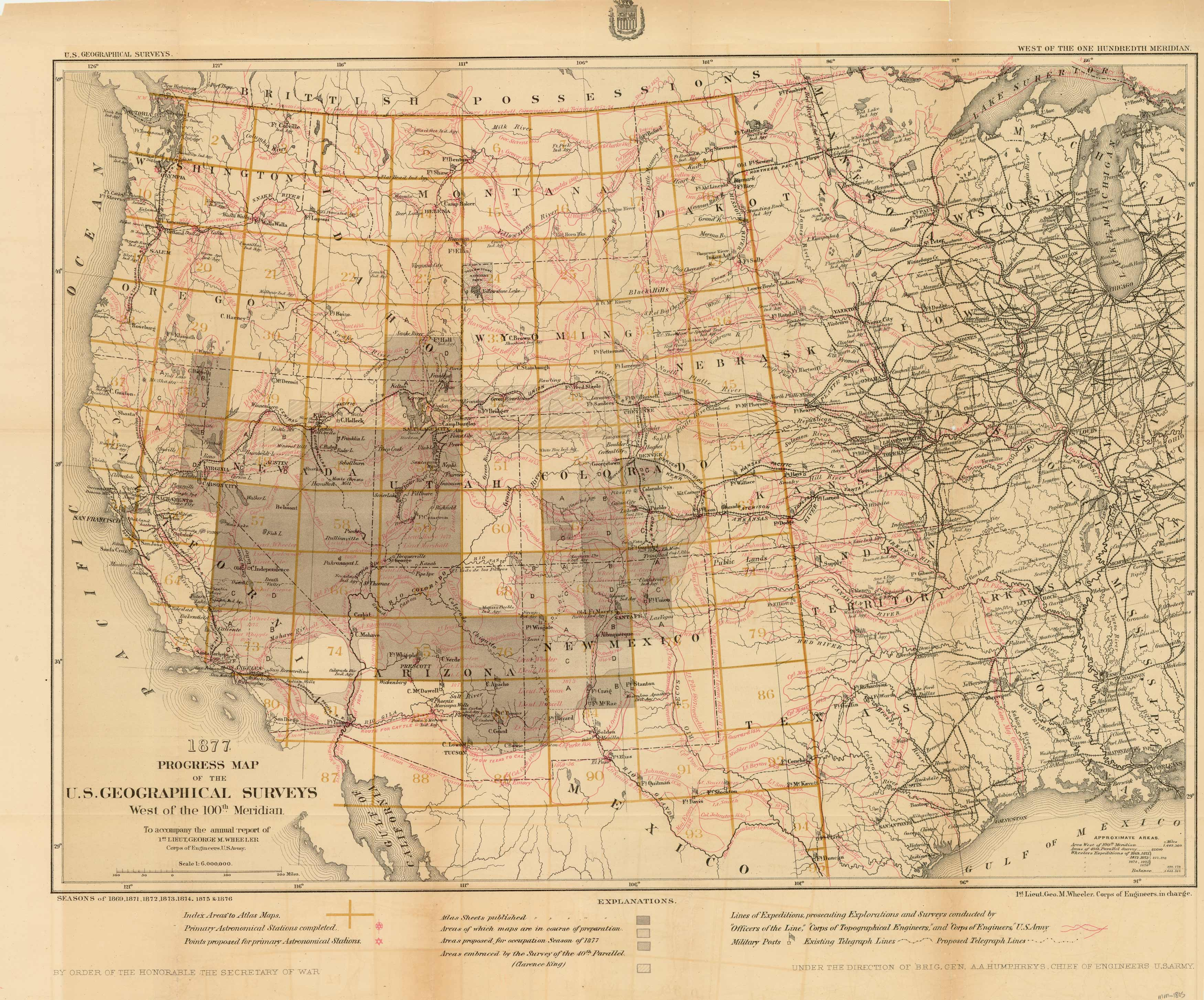 1877 Progress Map of the U.S. Geographical Surveys West of the 100th Meridian