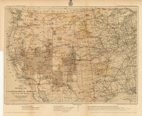 1878 Progress Map of the U.S. Geographical Surveys West of the 100th Meridian
