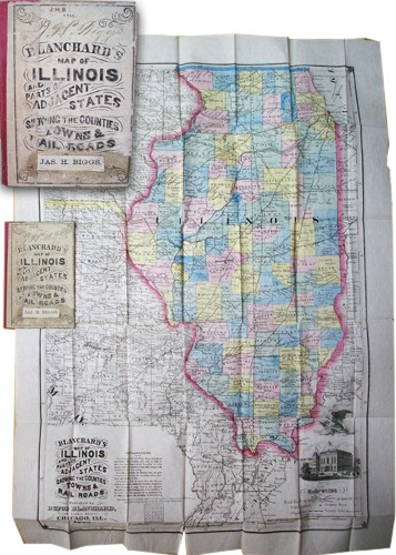 Blanchards Map of Illinois and Parts of Adjacent States