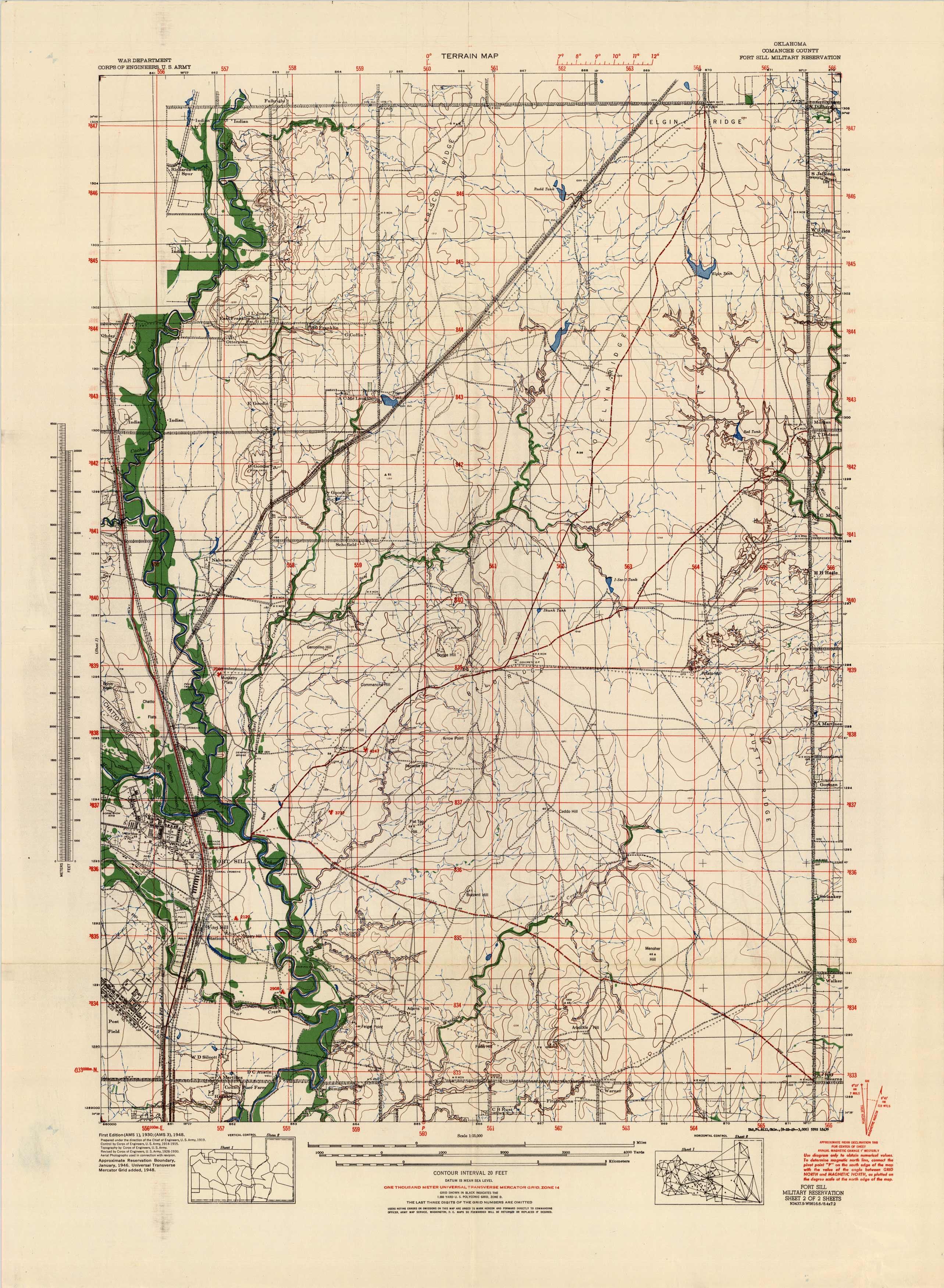 Terrain Map - Oklahoma Comanche County
