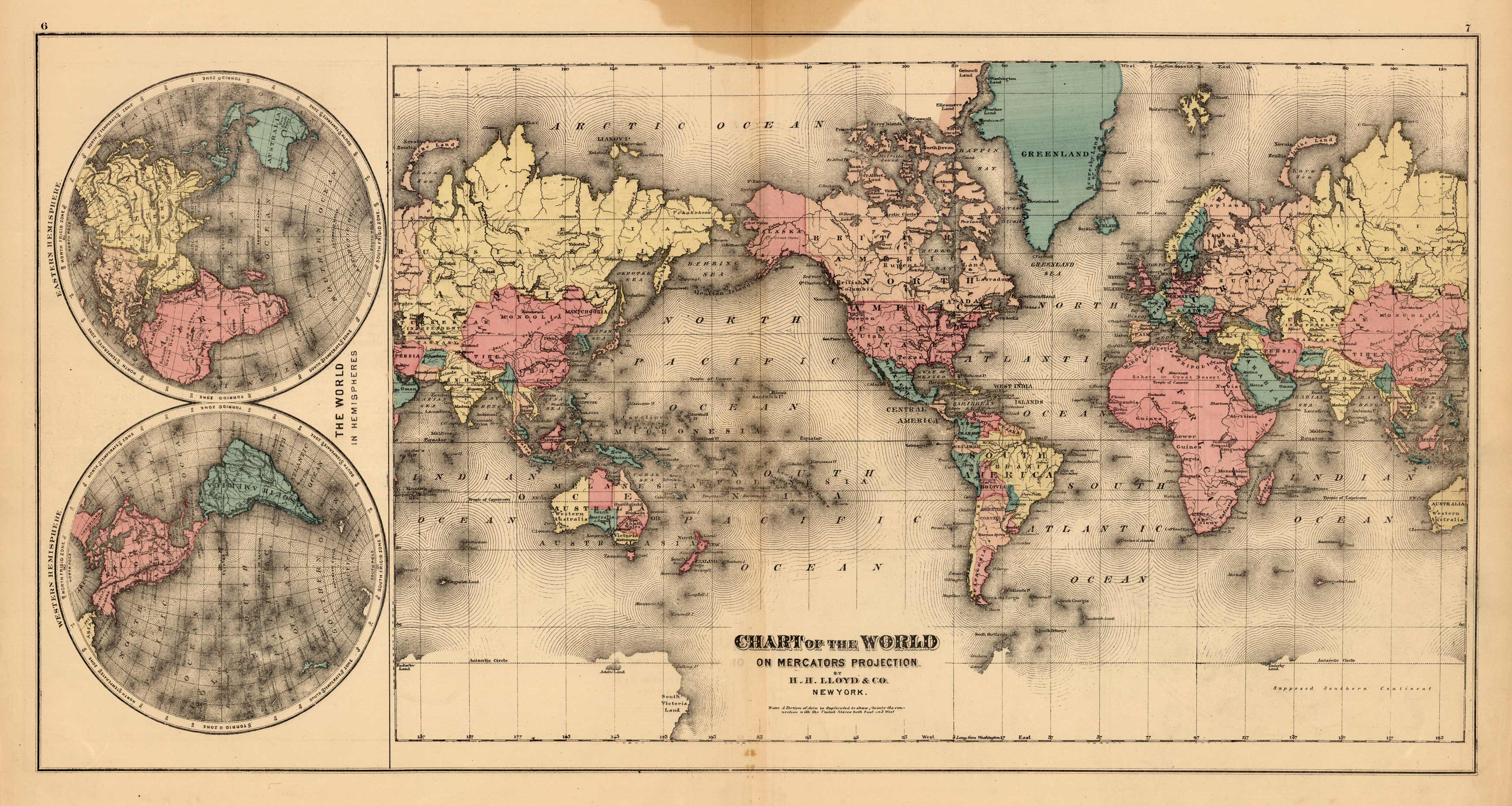 Chart of the World on Mercators Projection; The World in Hemispheres