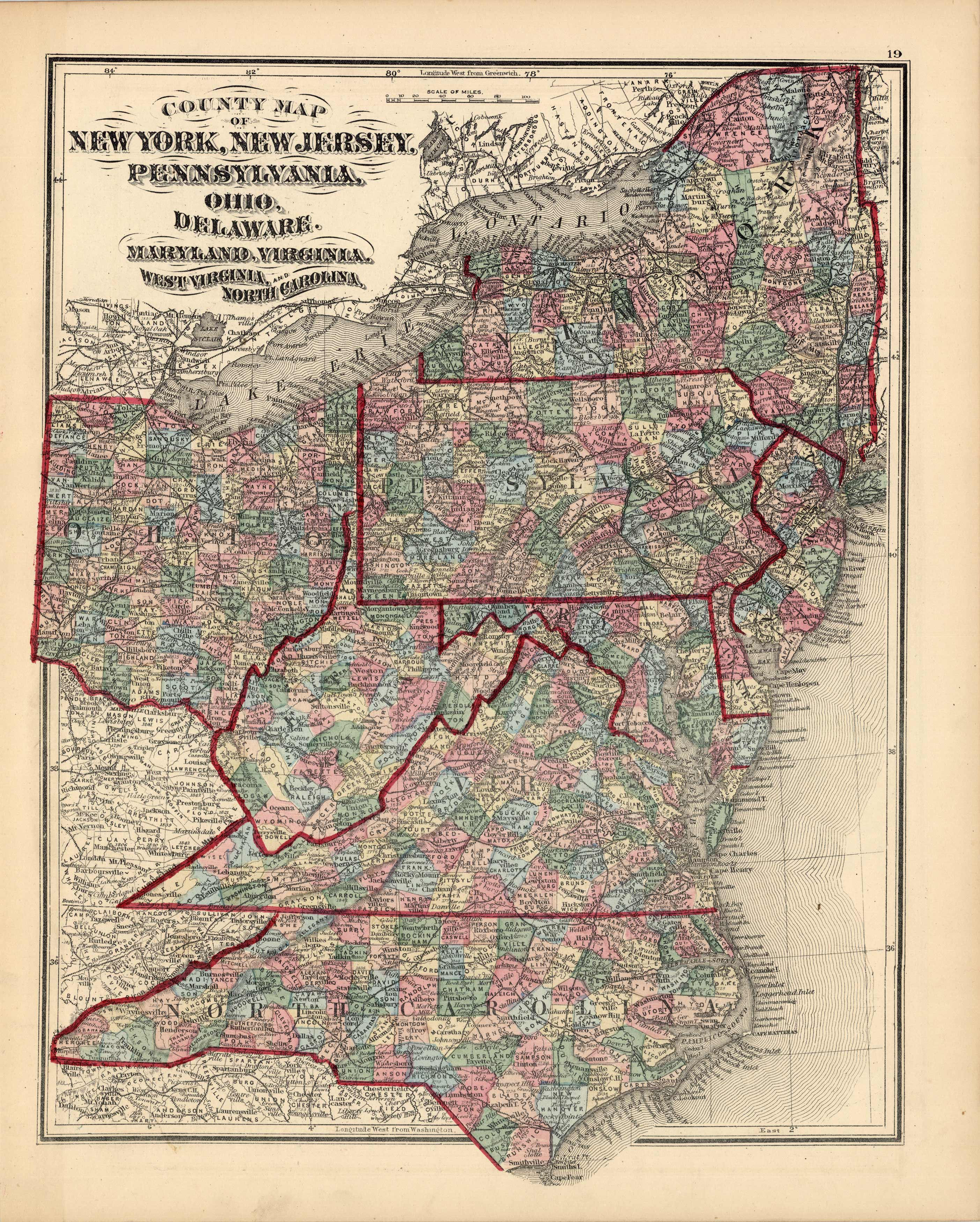 Picture of: County Map Of New York New Jersey Pennsylvania Ohio Deleware Maryland Virginia West Virginia And North Carolina Art Source International