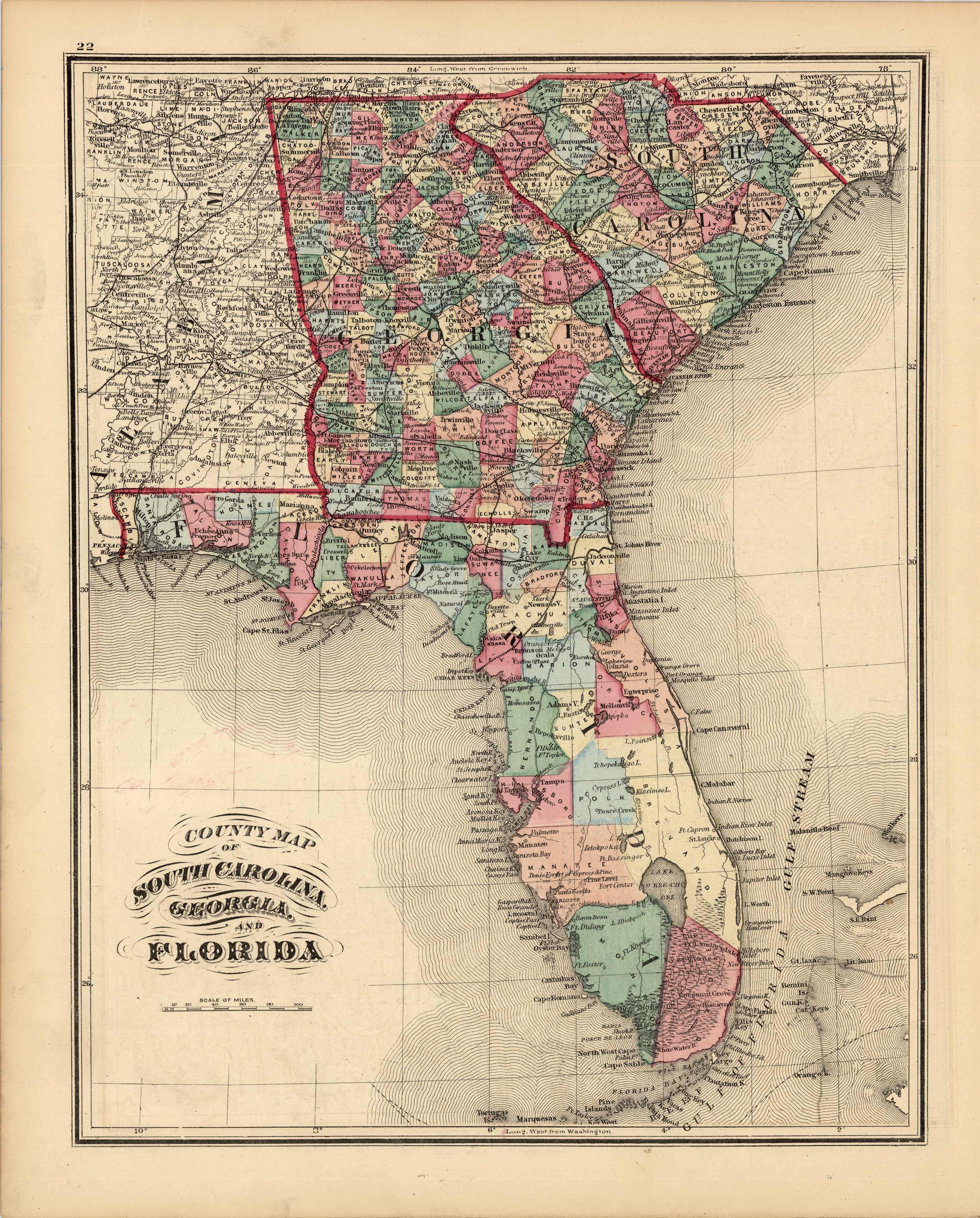 County Map of South Carolina