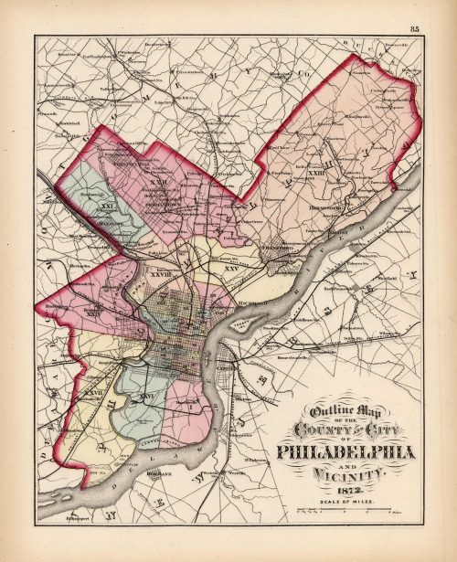 Outline Map of the County and City of Philadelphia and Vicinity (Pennsylvania)