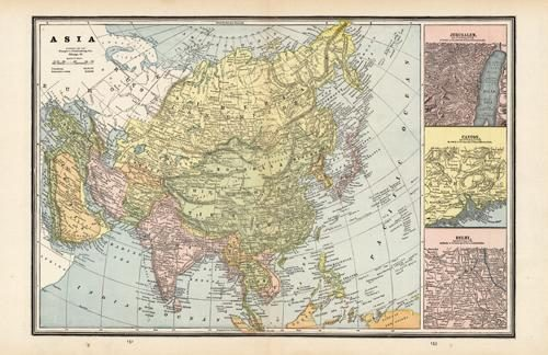 Map of Asia with insets of Jerusalem