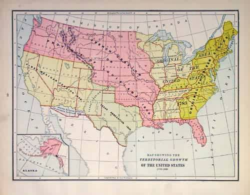 Map Showing the Territorial Growth of the United States 1176-1886