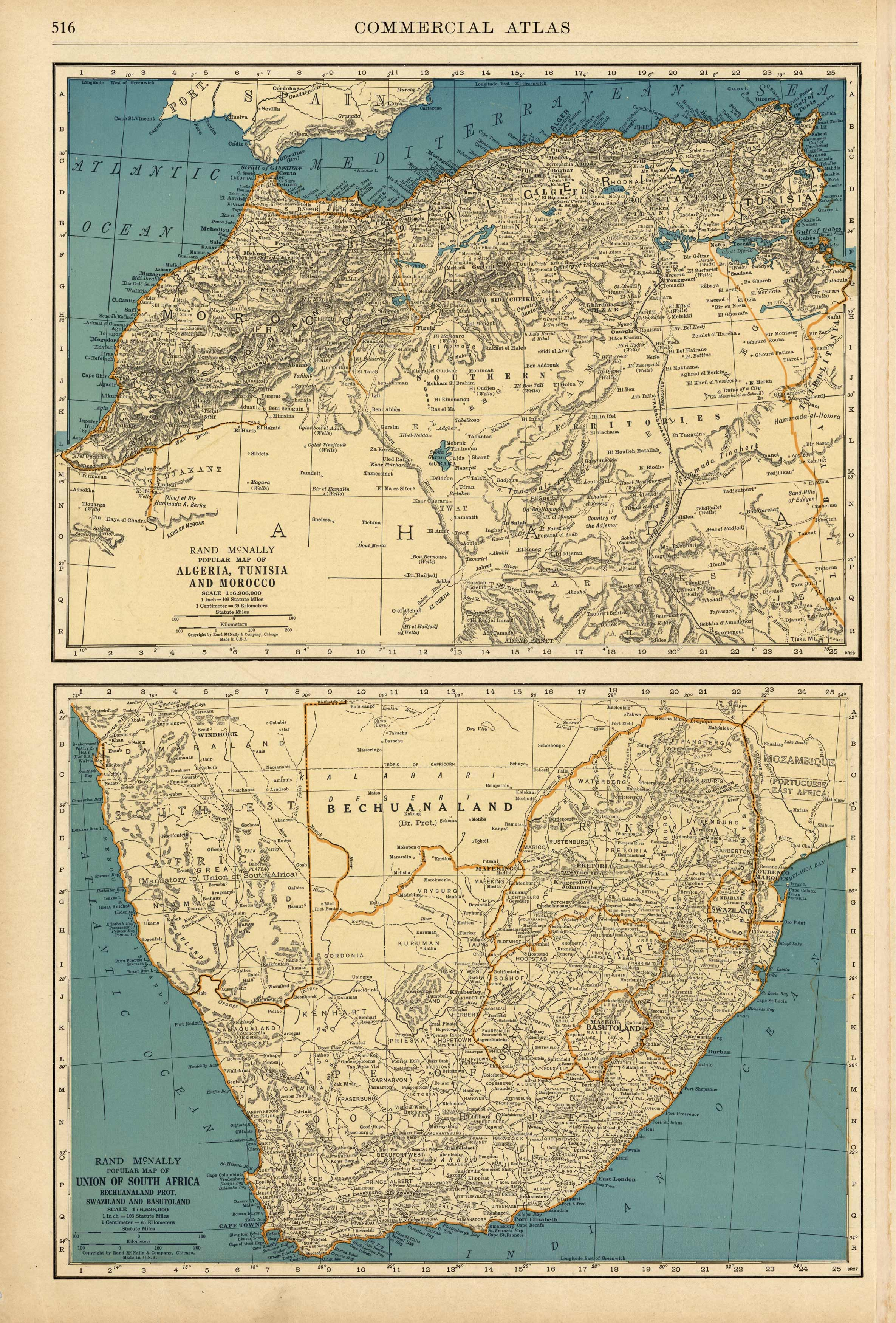 Rand McNally Popular Map of North and South Africa