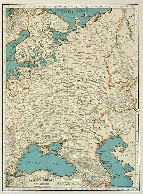 map of eastern europe 1930 Rand McNally Popular Map of Eastern Europe   Art Source International