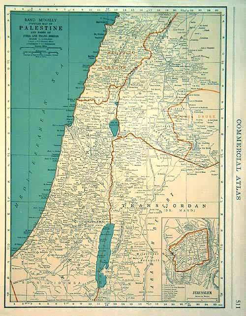 Rand McNally popular Map of Palestine and Parts of Syria and Trans-jordan