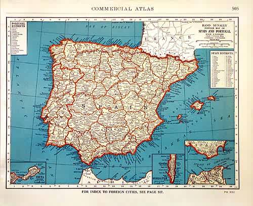 Rand McNally Popular Map of Spain and Portugal