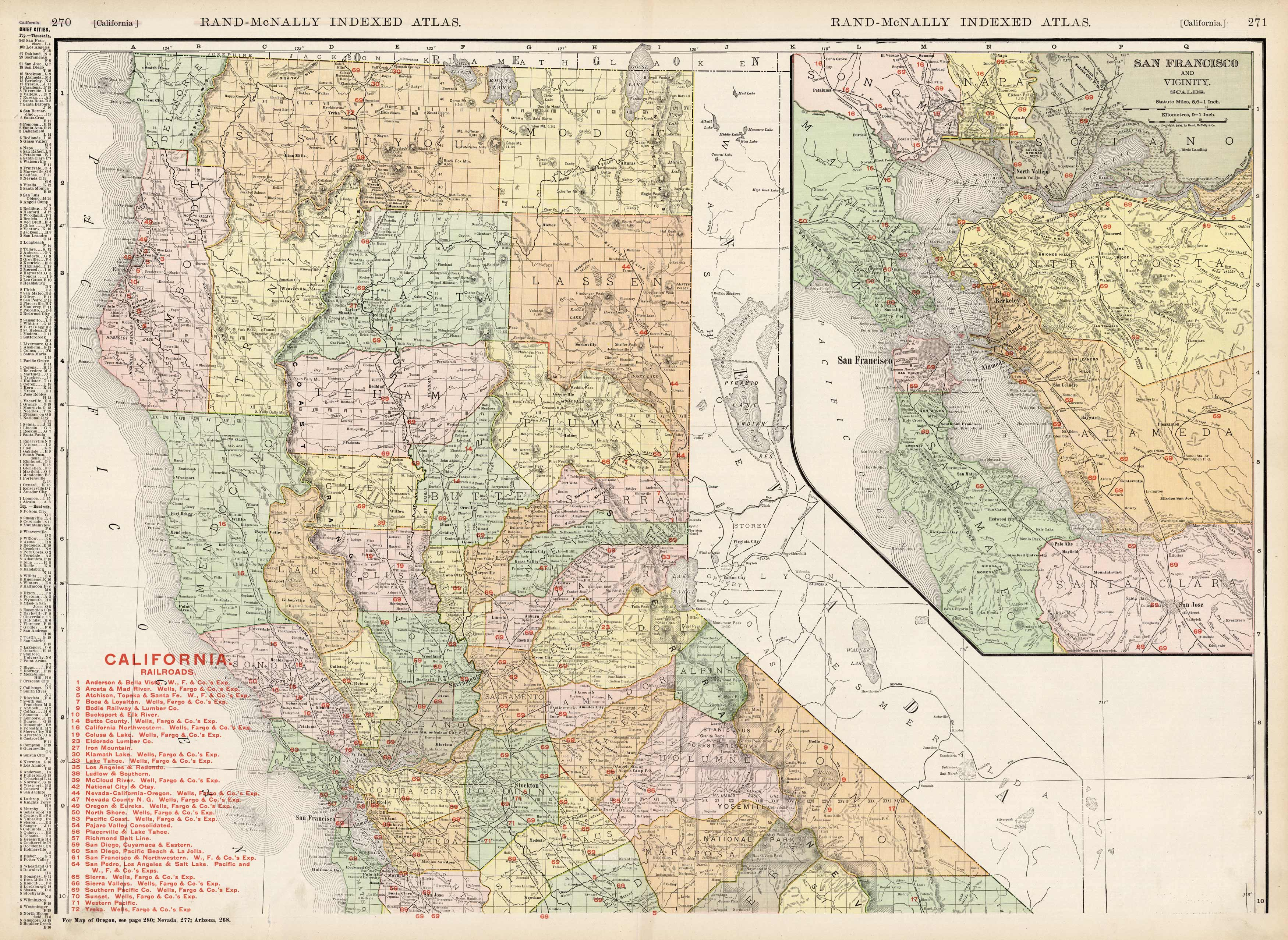 County Map of the State of California (with an inset map of San Francisco and Vicinity)