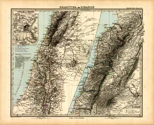Palestine and Lebanon with an inset map of Jerusalem and its vicinity