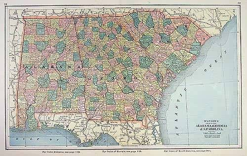Watsons Atlas Map of Alabama