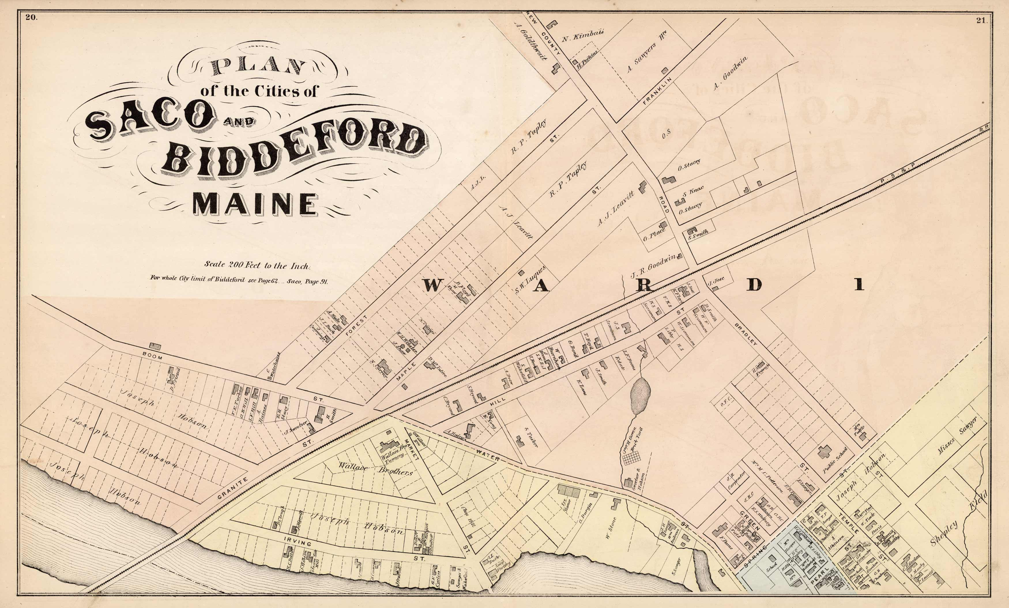 Plan Of The Cities Of Saco And Biddeford Maine Art Source International
