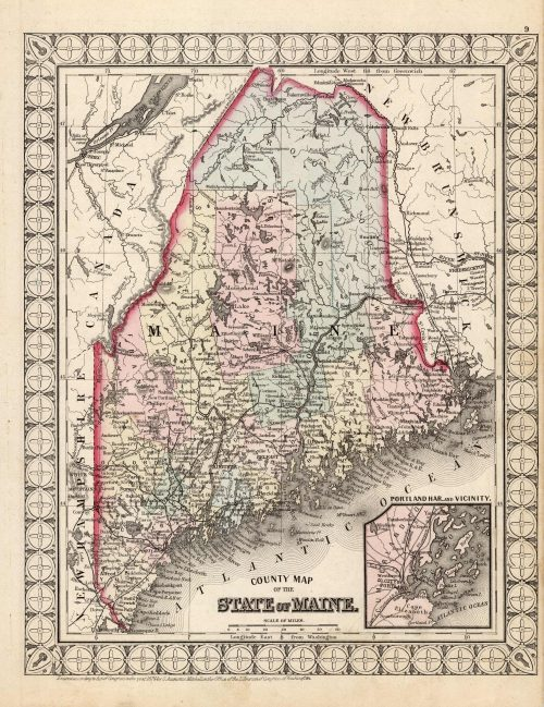 County Map of the State of Maine (with an inset map of Portland Har. and Vicinity)