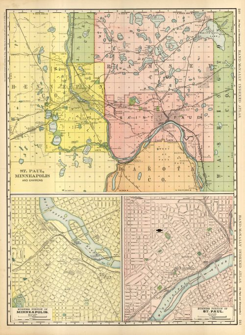 Antique Map Timezones Uk Forsale, Map Of St Paul Minneapolis And Environs, Antique Map Timezones Uk Forsale