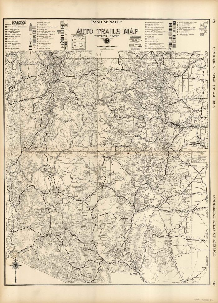 McNally\'s 1922 Map of Auto Trails Map of Arizona, Colorado, New Mexico, and  Utah