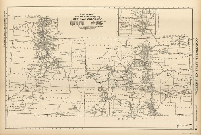 McNally\'s 1922 Mileage Map of Utah and Colorado