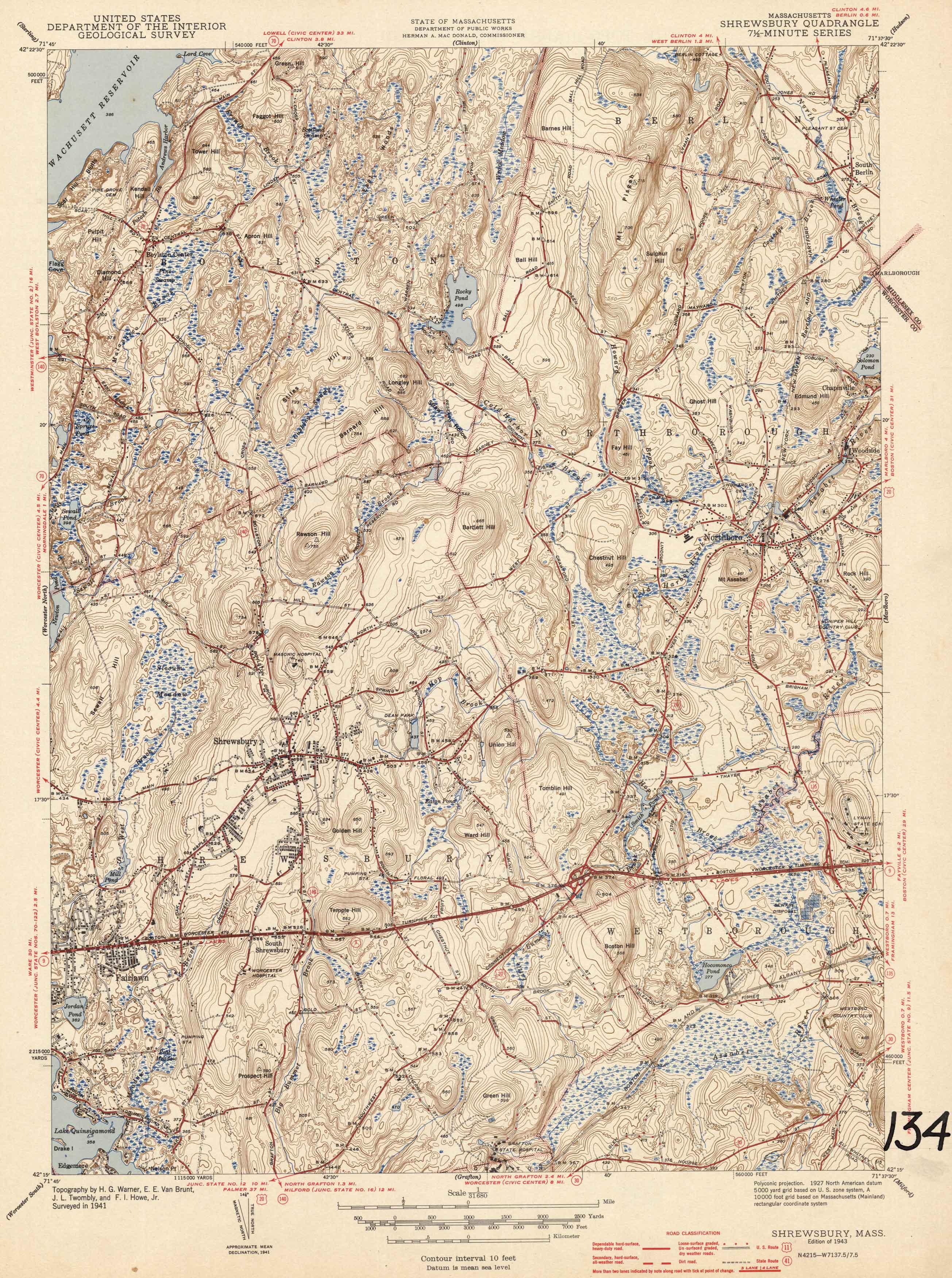 U.S. Geologic Survey 1943 Map of Shrewsbury, Massachusetts