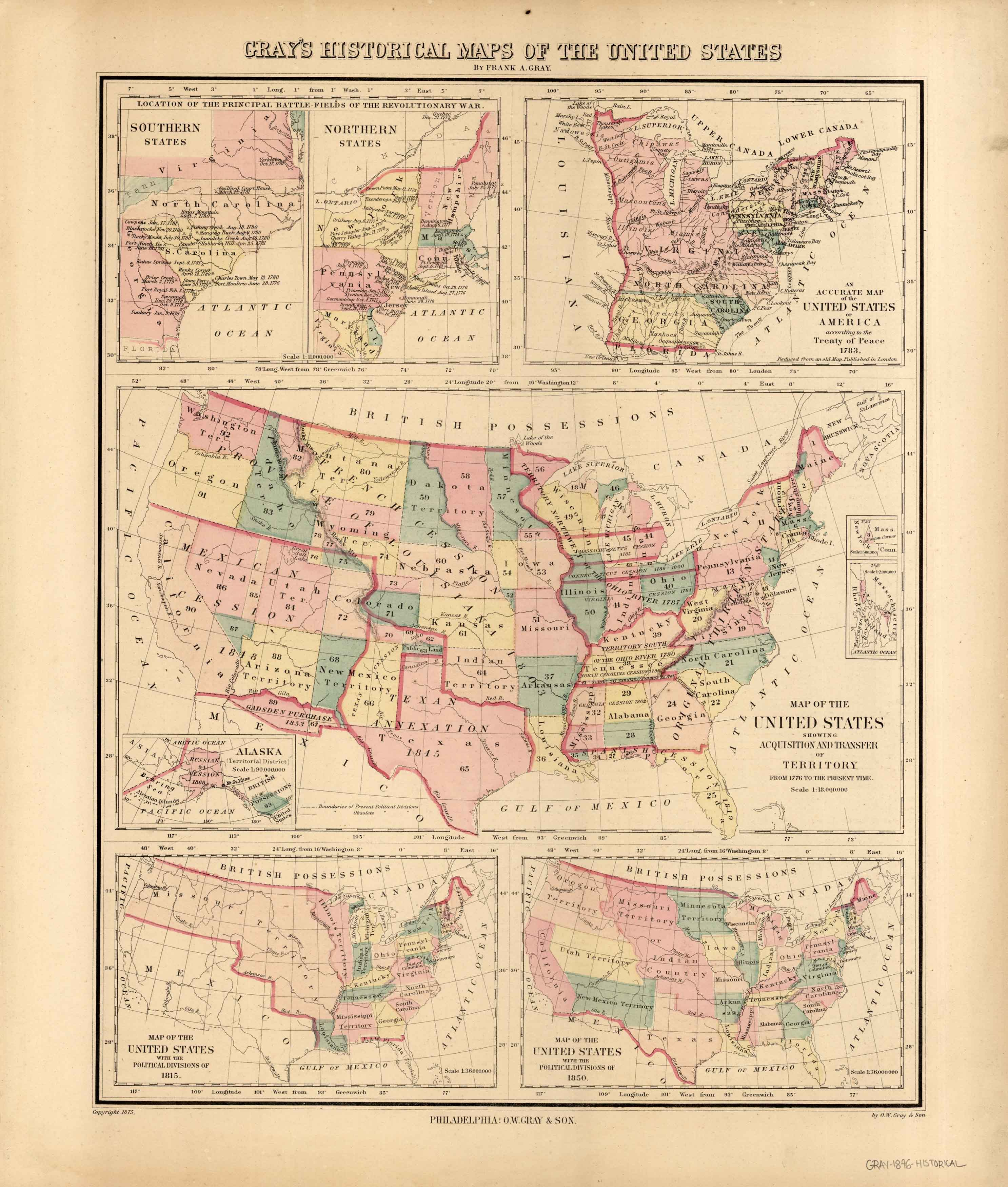 Gray\'s 1876 Historical Maps of the United States